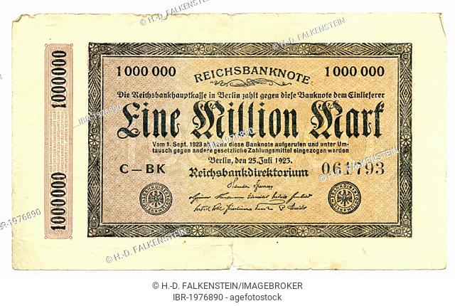 Front of a banknote, Reichsbank banknote, 1 Million Marks, 1923, inflation money, Germany, Europe