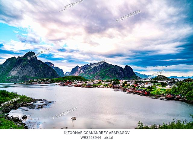 Lofoten islands is an archipelago in the county of Nordland, Norway. Is known for a distinctive scenery with dramatic mountains and peaks
