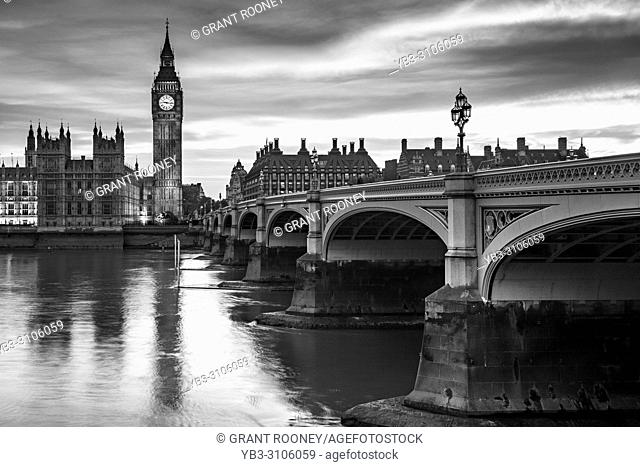 The Elizabeth Tower (Big Ben) and River Thames, London, UK