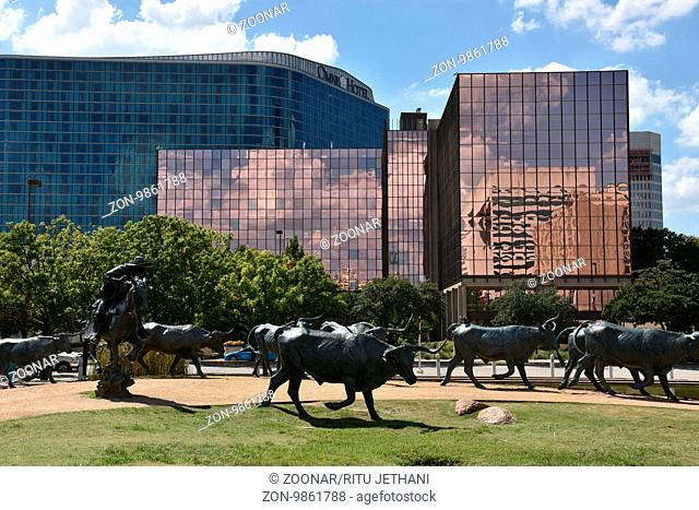 The Cattle Drive Sculpture at Pioneer Plaza in Dallas, Texas