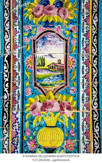 Details of wall tiles in Golestan Palace in Tehran city, capital of Iran and Tehran Province