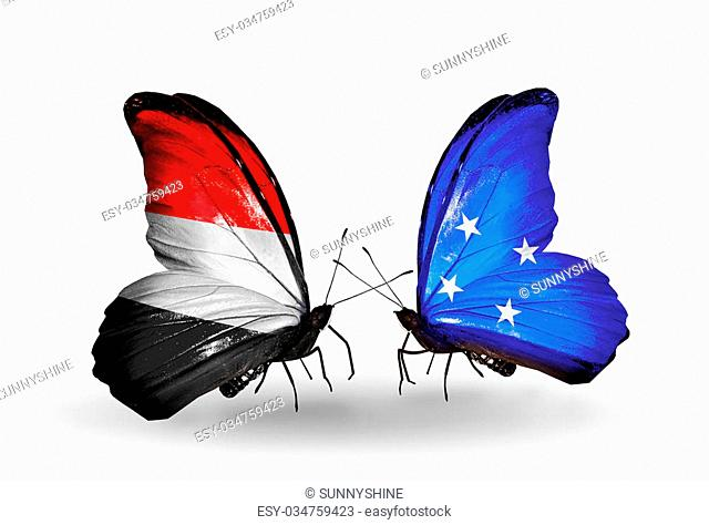 Two butterflies with flags on wings as symbol of relations Yemen and Micronesia