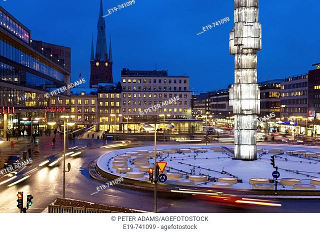 Glass sculpture by Edvin Ohrstrom in Sergels Torg Square, Stockholm, Sweden
