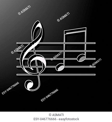 Music violin clef sign. G-clef and notes G, H. Vector. Gray 3d printed icon on black background