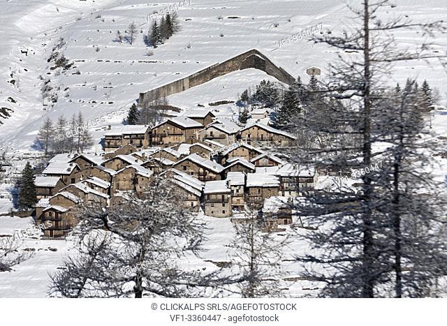 Orsiera Rocciavre Park, Chisone Valley, Turin, Piedmont, Italy. Winter Orsiera Rocciavre Park, Pequerel village