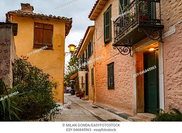 Old buildings in Plaka district of Athens, Greece.