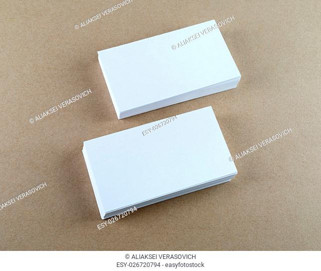 Blank business cards with soft shadows. Template for ID. Top view