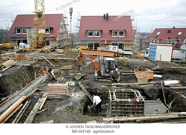 Concrete works at the foundation of a house, Essen, North Rhine-Westphalia, Germany