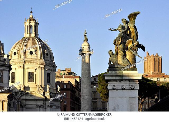 Church of the Most Holy Name of Mary, Santissimo Nome di Maria, Trajan's column, group of statues Il Pensiero on Vittoriano, Torre delle Milizie, Piazza Venezia