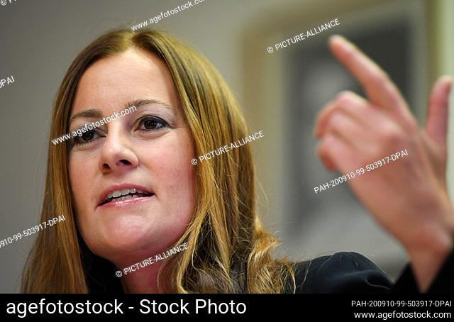 10 September 2020, Hessen, Wiesbaden: Janine Wissler, parliamentary party leader of the party Die Linke in the Hessian state parliament