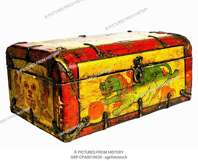 China / Tibet: A traditional painted Tibetan tea chest with a lion on the front, Lhasa, c. late 19th century