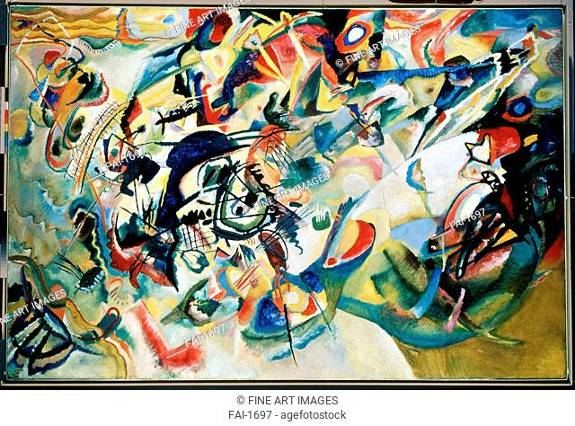 Composition VII. Kandinsky, Wassily Vasilyevich (1866-1944). Oil on canvas. Abstract Art. 1913. State Tretyakov Gallery, Moscow. 200x300. Painting