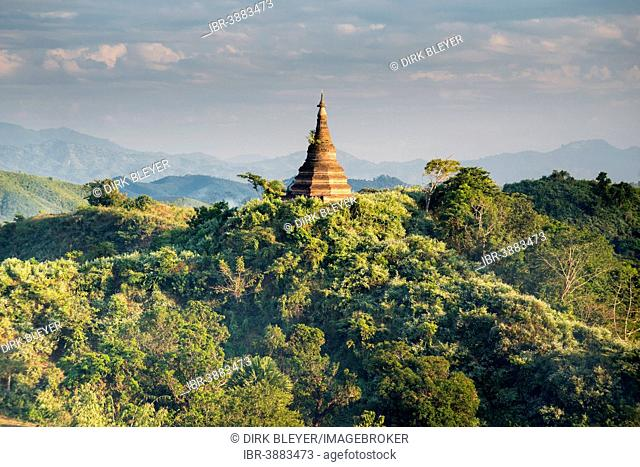 A pagoda is surrounded by trees, Mrauk U, Sittwe District, Rakhine State, Myanmar