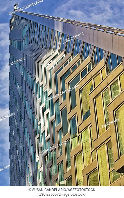 Upward View to West 57 ST NYC - An upward view to the pyramid shape modern building at 625 West 57th Street in midtown Manhattan, New York City