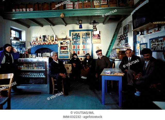 Karpathos, Olymbos: True to Tradition Olymbos, kafeneio, local people