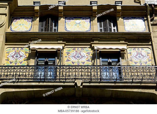 Jugendstil house in the city centre, Donostia-San Sebastián, Gipuzkoa, the Basque Provinces, Spain