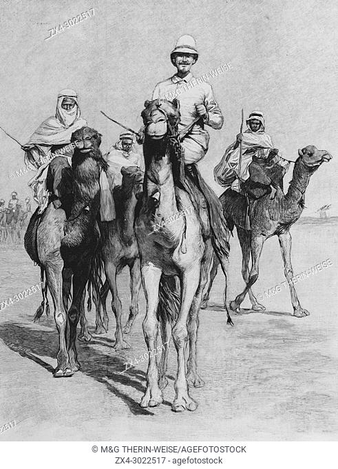 French Explorer Fernand Foureau during the Foureau-Lamy expedition in Chad in 1900, Picture from the French weekly newspaper l'Illustration, 9th September 1900