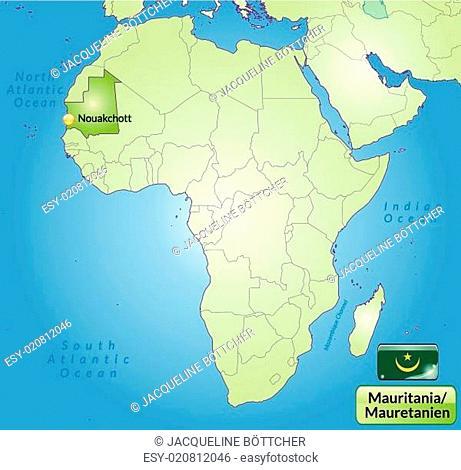 Umgebungskarte von Mauretanien mit Hauptstädten in Grün