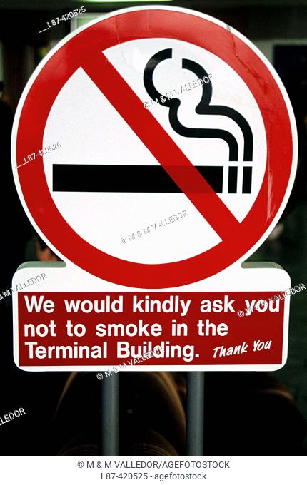 No smoking sign at Dublin airport  Ireland, Stock Photo, Picture And