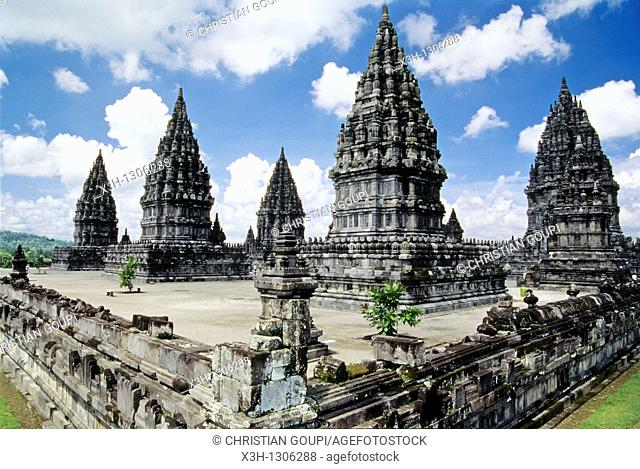 Main shrine of Prambanan Hindu Temple compound in Java island, Greater Sunda Islands, Republic of Indonesia, Southeast Asia and Oceania