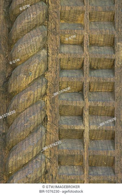 Wood carving, Wood Church of Saint Nicholas, Unesco World Heritage Site, Budesti, Maramures, Romania