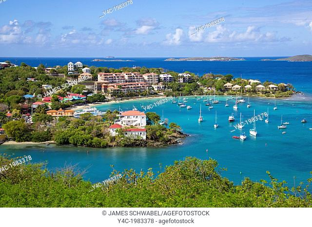 Town of Cruz Bay on the Caribbean Island of St John in the US Virgin Islands