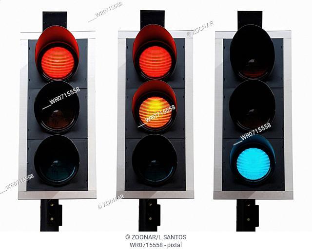 set of british traffic lights isolated on white background