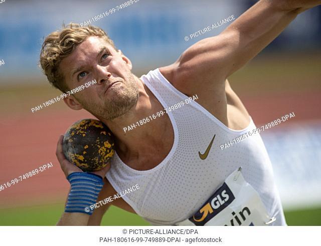 16 June 2018, Germany, Ratingen, Athletics: Decathlon athlete Kevin Mayer from France during shot put. Photo: Bernd Thissen/dpa