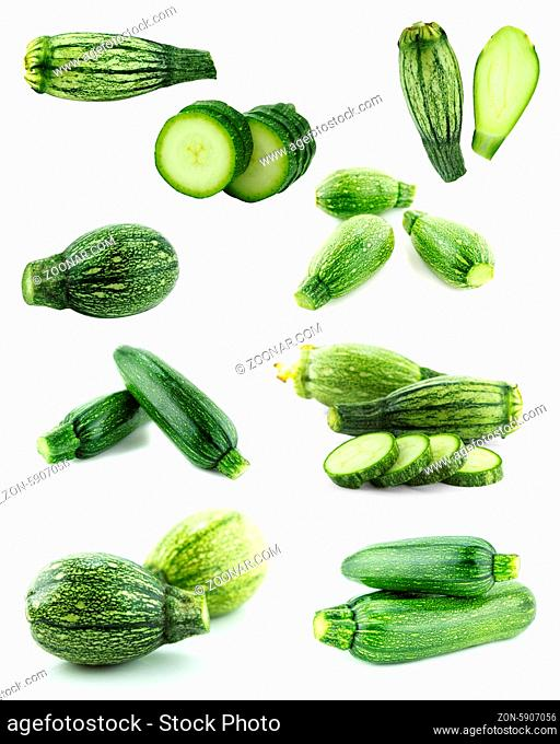 Healthy and organic food, Set of fresh zucchini or marrow