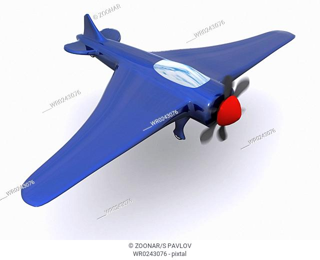 single blue airplane. 3d