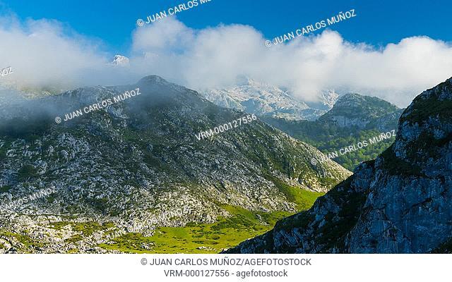 Mountains from Enol lake, Picos de Europa National Park, Asturias, Spain, Europe