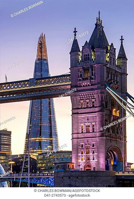 UK, England, London, Tower Bridge, Shard, City Hall