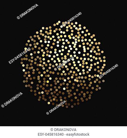Vector glitter golden sphere isolated on black