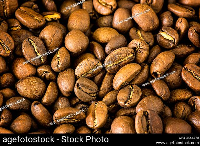 Close-up of natural coffee beans