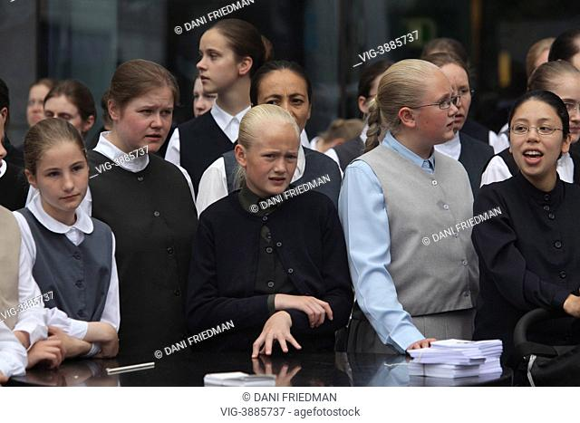 Young Holdeman Mennonite girls from the Church of God in downtown