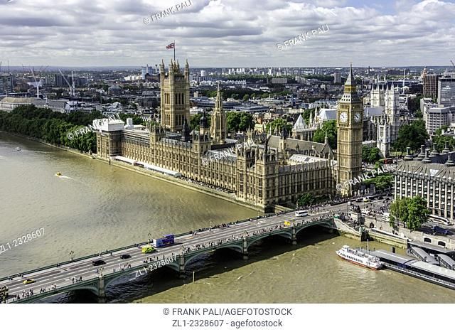 A view of Big Ben and House of Parliament in London, England, taken from a capsule of the London Eye panoramic wheel