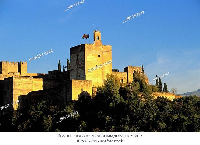 View on the Alhambra , Torre de la Vela , Granada , Andalusia , Spain , Europe