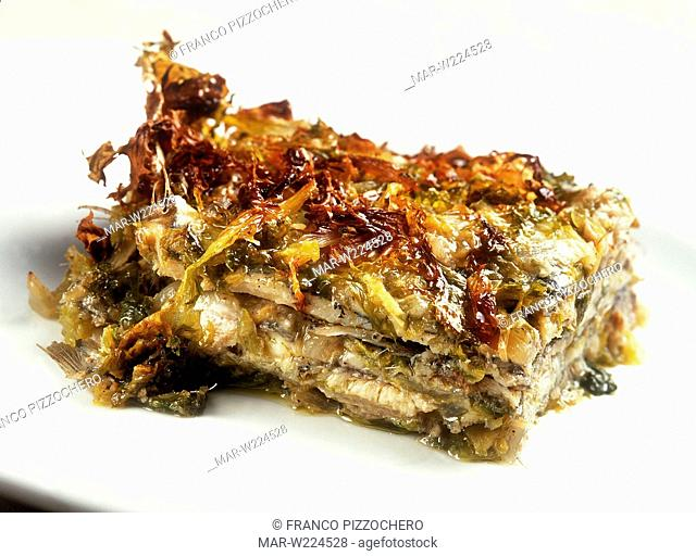 pie of masculini, fresh anchovies with endive
