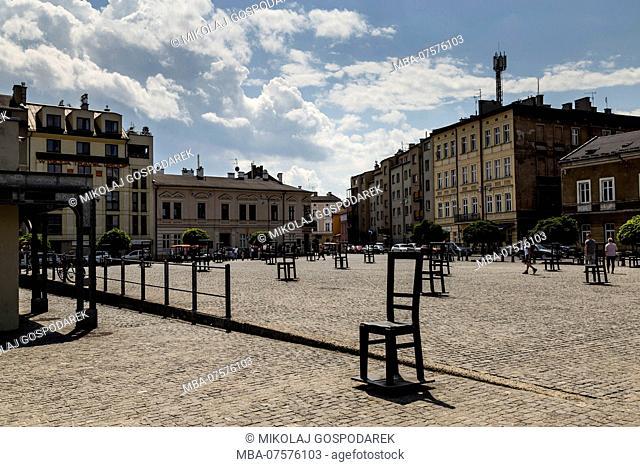 Europe, Poland, Lesser Poland, Krakow, district Kazimierz, Plac Bohaterów Getta / Ghetto Heroes Square