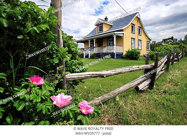View of colorful house, Bas-Saint-Laurent region, Quebec, Canada