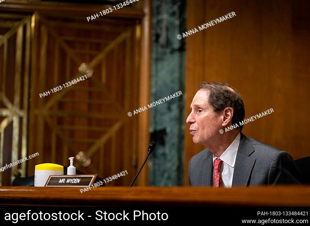 United States Senator Ron Wyden (Democrat of Oregon), Ranking Member, US Senate Committee on Finance, speaks during a Senate Finance Committee hearing about the...