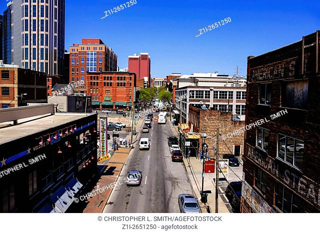 View overlooking 1st Ave S from the Shelby Street bridge in Nashville TN