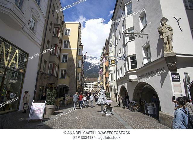 Innsbruck city center Austria on April 16, 2019: Maria-Theresien-Strasse Easter time