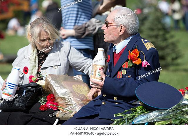 A World War II veteran has lunch in the 'Museum of the Great Fatherland War' in Kiev, Ukraine, 09 May 2015. Photo: Jan A