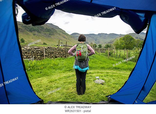 A view from the tent before setting off for a walk in Great Langdale, Lake District National Park, Cumbria, England, United Kingdom, Europe