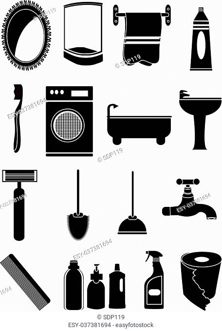 Bathroom vector icons set in black