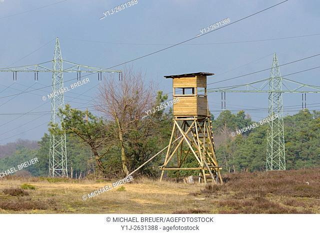 Hunting Blind between High-Voltage Power Line, Hesse, Germany, Europe