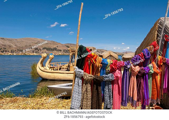 Lake Titicaca Peru with traditional scarfs for sale in floating islands near Puno