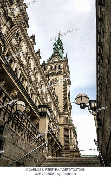 view of the famous town hall in Hamburg, Germany