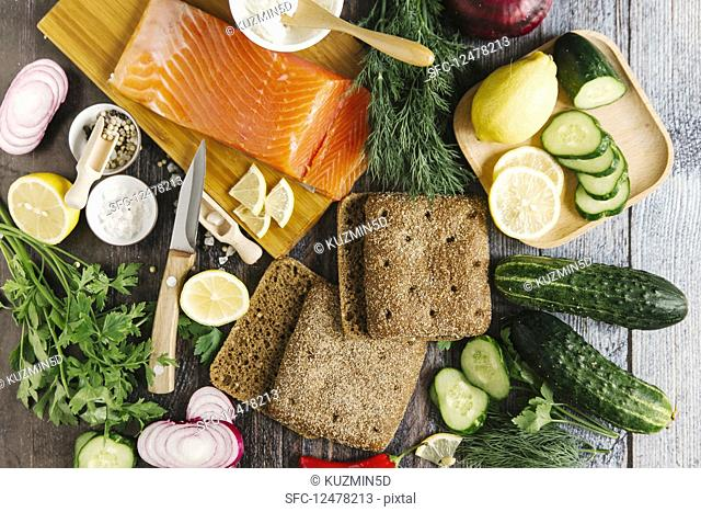 Ingredients for sandwiches with salmon